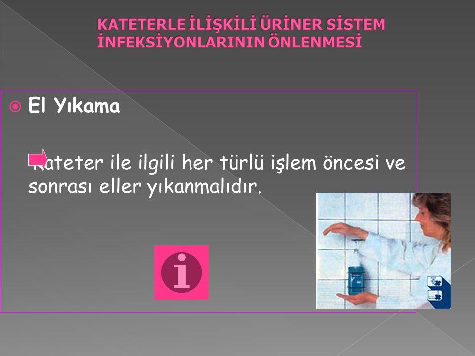  El Yıkama Kateter ile ilgili her türlü işlem öncesi ve sonrası eller yıkanmalıdır.