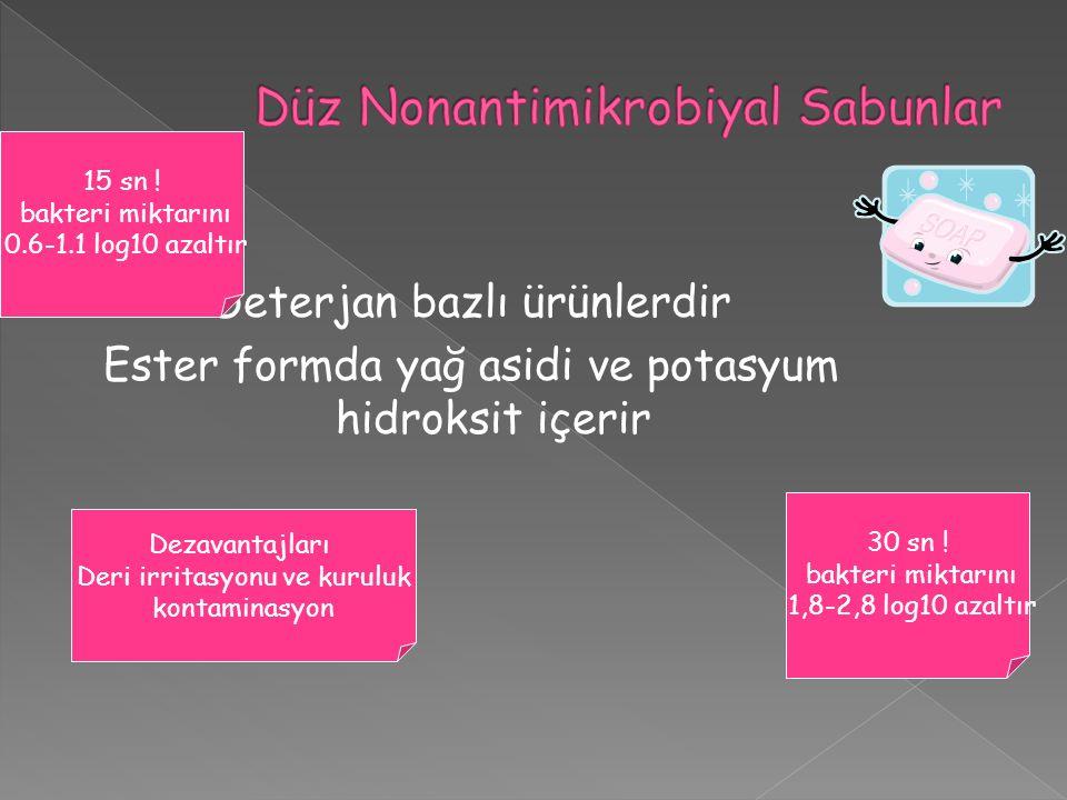 Deterjan bazlı ürünlerdir Ester formda yağ asidi ve potasyum hidroksit içerir 15 sn .