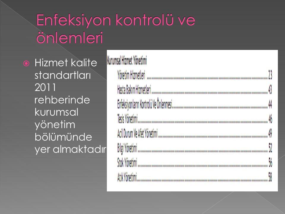  Hizmet kalite standartları 2011 rehberinde kurumsal yönetim bölümünde yer almaktadır