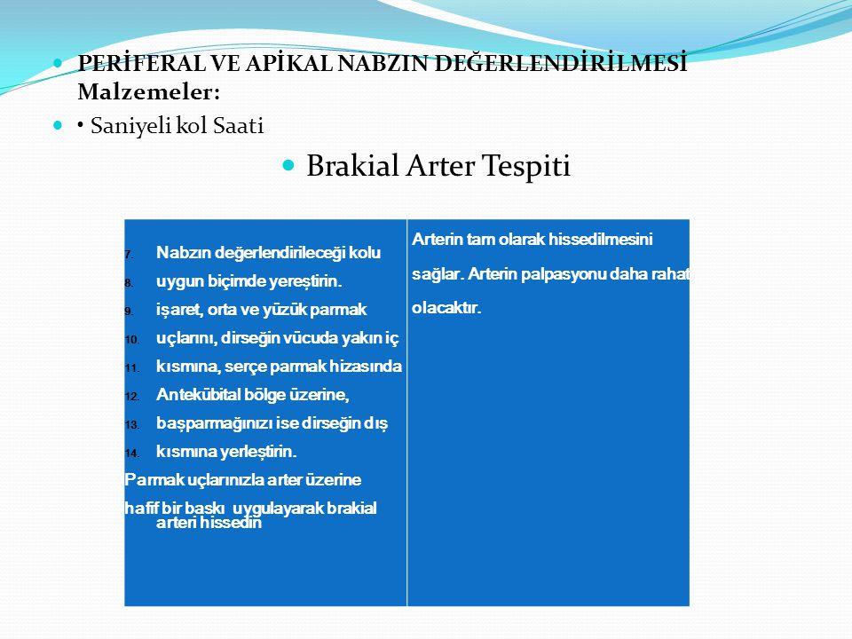 PERİFERAL VE APİKAL NABZIN DEĞERLENDİRİLMESİ Malzemeler: Saniyeli kol Saati Brakial Arter Tespiti 7.Nabzın değerlendirileceği kolu 8.uygun biçimde yer