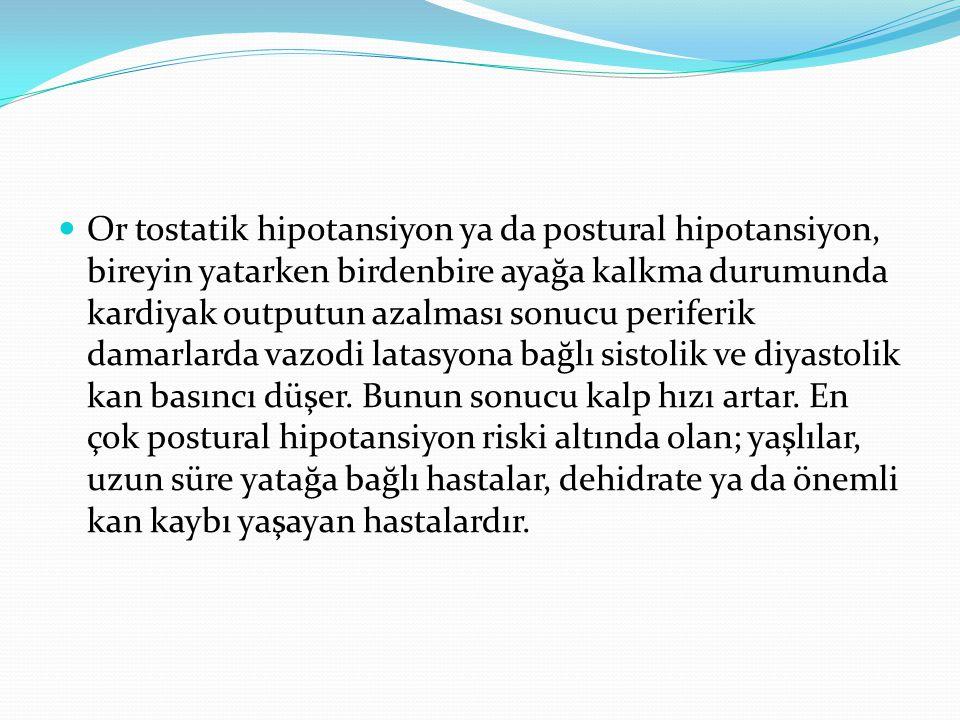 Or tostatik hipotansiyon ya da postural hipotansiyon, bireyin yatarken birdenbire ayağa kalkma durumunda kardiyak outputun azalması sonucu periferik d