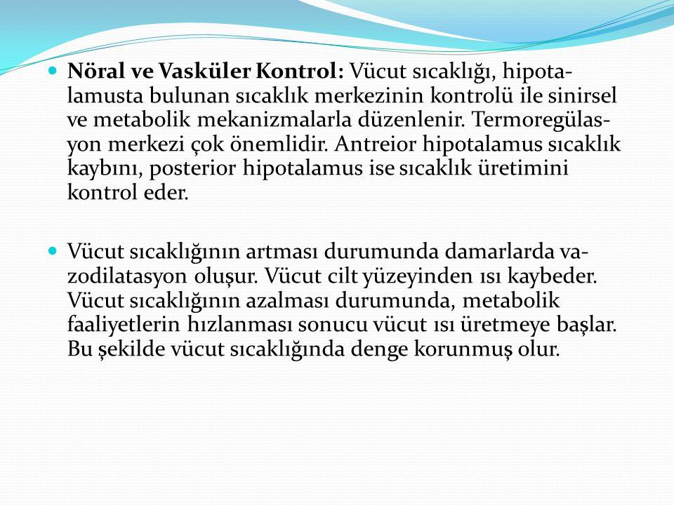 Nöral ve Vasküler Kontrol: Vücut sıcaklığı, hipota- lamusta bulunan sıcaklık merkezinin kontrolü ile sinirsel ve metabolik mekanizmalarla düzenlenir.