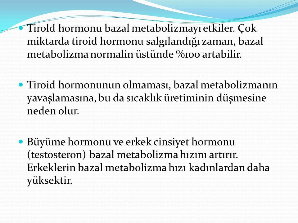 Tirold hormonu bazal metabolizmayı etkiler. Çok miktarda tiroid hormonu salgılandığı zaman, bazal metabolizma normalin üstünde %100 artabilir. Tiroid