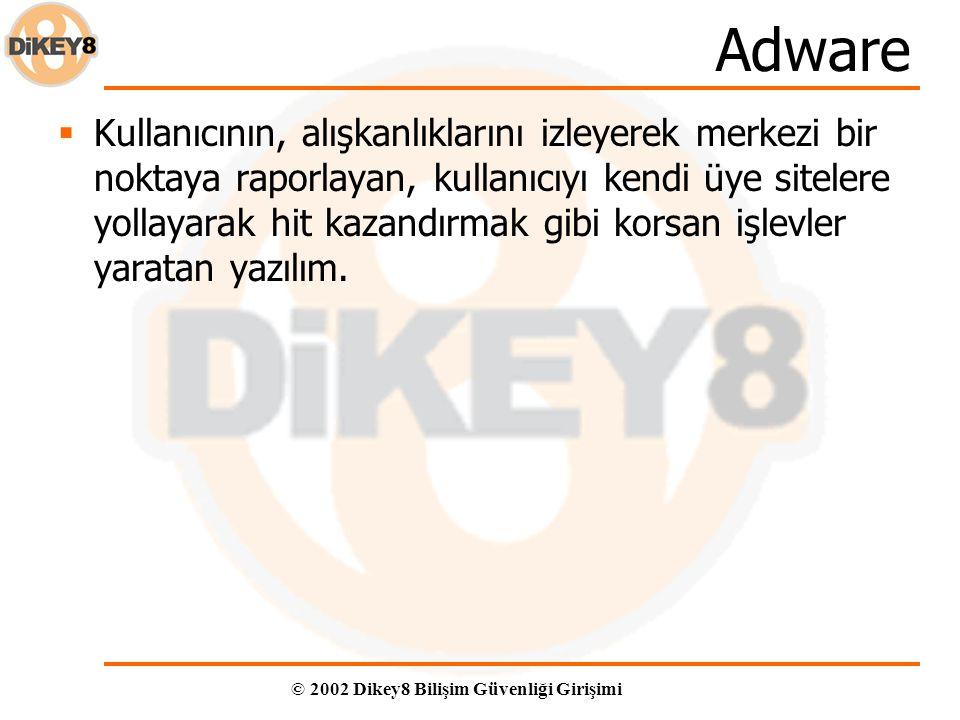 © 2002 Dikey8 Bilişim Güvenliği Girişimi Adware  Kullanıcının, alışkanlıklarını izleyerek merkezi bir noktaya raporlayan, kullanıcıyı kendi üye sitelere yollayarak hit kazandırmak gibi korsan işlevler yaratan yazılım.