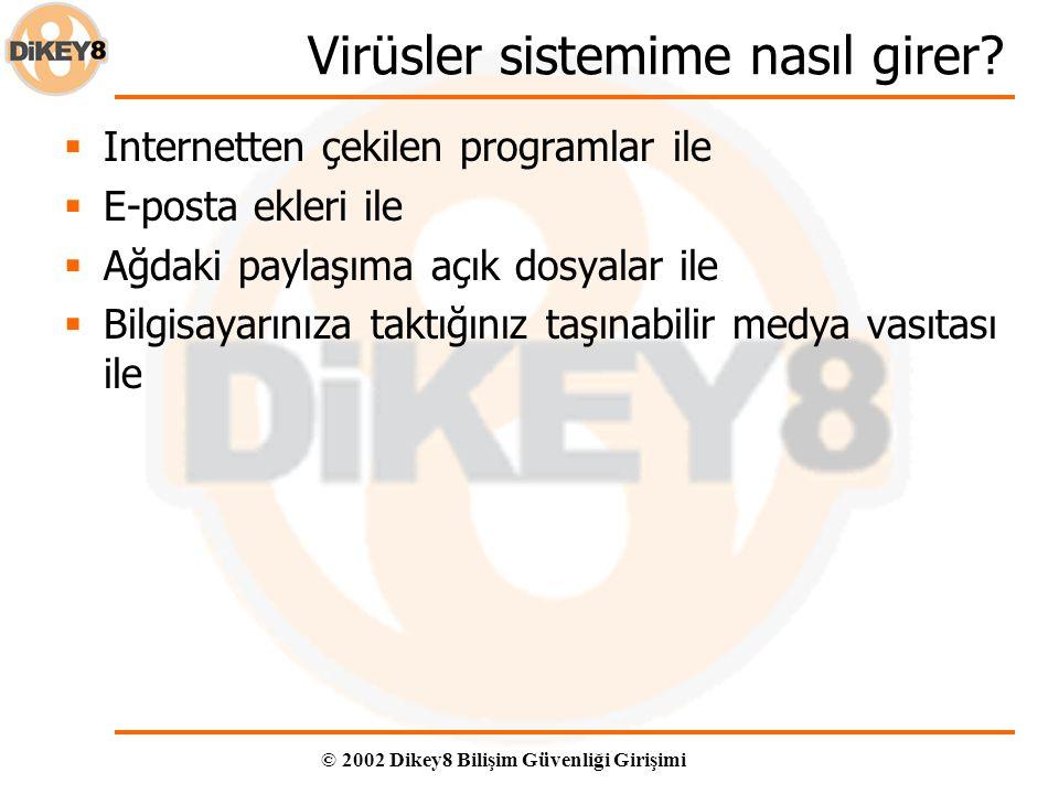 © 2002 Dikey8 Bilişim Güvenliği Girişimi Virüsler sistemime nasıl girer.