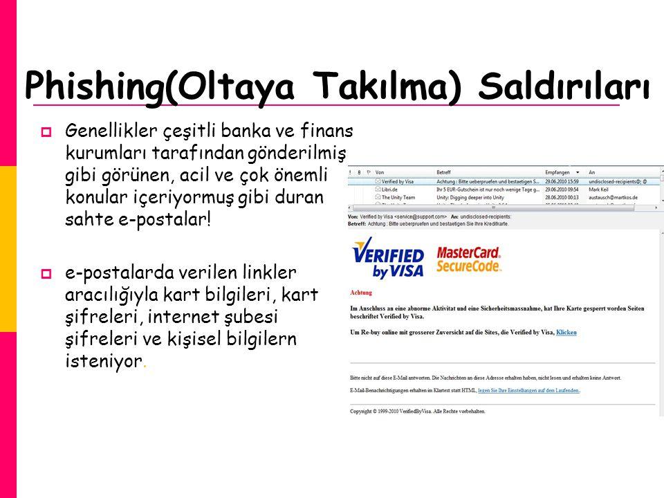 Phishing(Oltaya Takılma) Saldırıları  Genellikler çeşitli banka ve finans kurumları tarafından gönderilmiş gibi görünen, acil ve çok önemli konular i