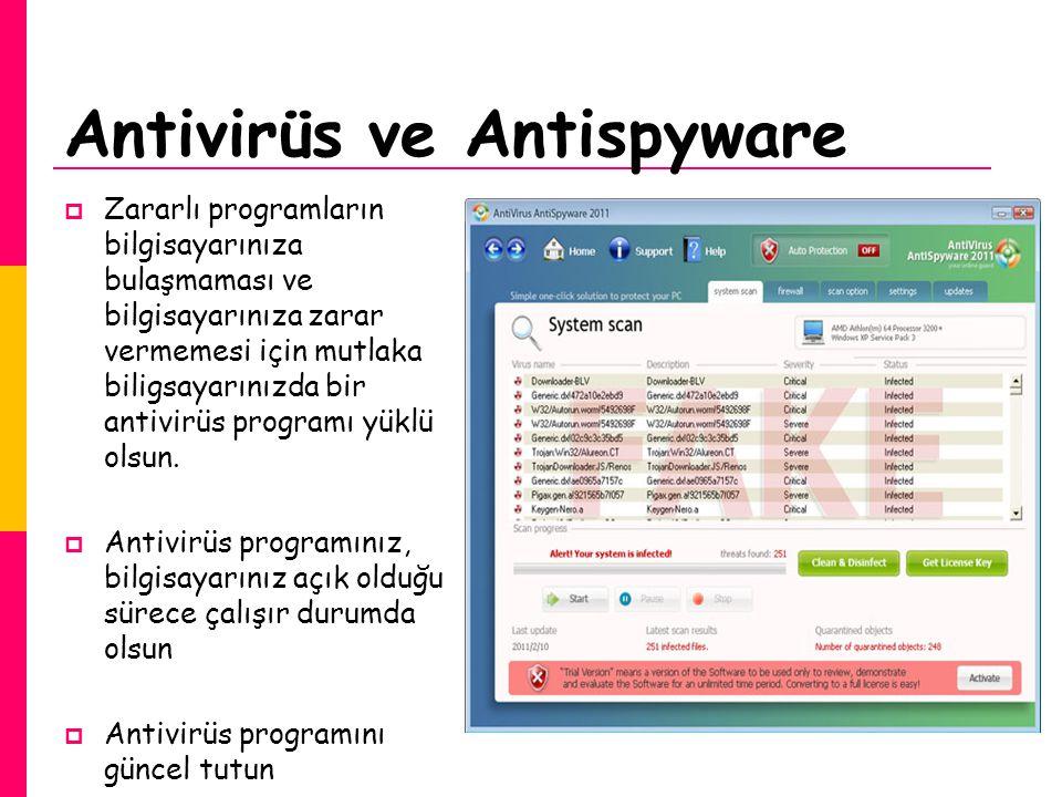  Zararlı programların bilgisayarınıza bulaşmaması ve bilgisayarınıza zarar vermemesi için mutlaka biligsayarınızda bir antivirüs programı yüklü olsun