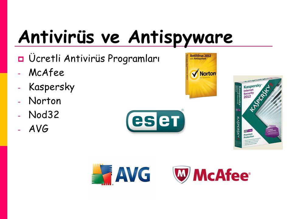 Antivirüs ve Antispyware  Ücretli Antivirüs Programları - McAfee - Kaspersky - Norton - Nod32 - AVG