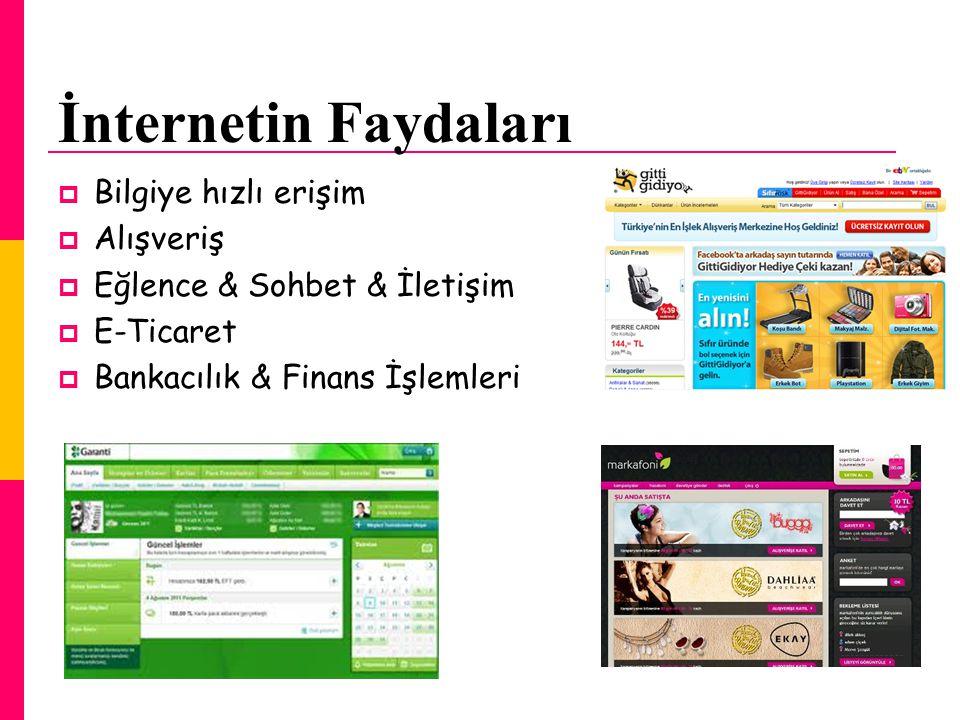 İnternetin Faydaları  Bilgiye hızlı erişim  Alışveriş  Eğlence & Sohbet & İletişim  E-Ticaret  Bankacılık & Finans İşlemleri