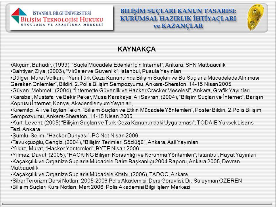"""KAYNAKÇA Akçam, Bahadır, (1999), """"Suçla Mücadele Edenler İçin İnternet"""", Ankara, SFN Matbaacılık Bahtiyar, Ziya, (2003), """"Virüsler ve Güvenlik"""", İstan"""