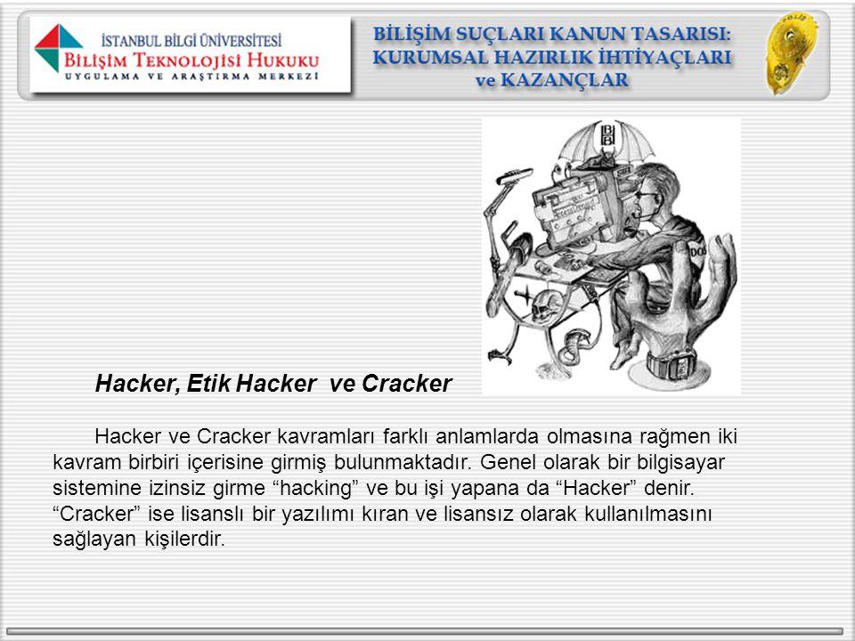 Hacker, Etik Hacker ve Cracker Hacker ve Cracker kavramları farklı anlamlarda olmasına rağmen iki kavram birbiri içerisine girmiş bulunmaktadır. Genel