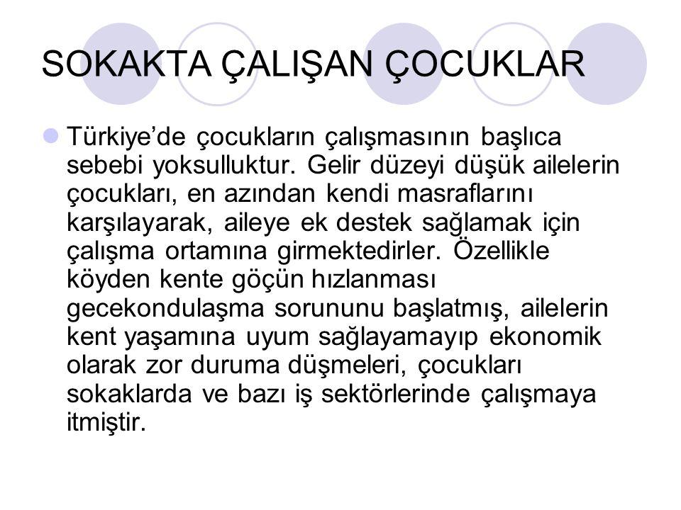 SOKAKTA ÇALIŞAN ÇOCUKLAR Türkiye'de çocukların çalışmasının başlıca sebebi yoksulluktur. Gelir düzeyi düşük ailelerin çocukları, en azından kendi masr