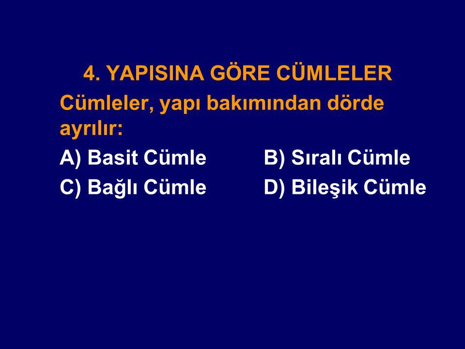 4. YAPISINA GÖRE CÜMLELER Cümleler, yapı bakımından dörde ayrılır: A) Basit Cümle B) Sıralı Cümle C) Bağlı Cümle D) Bileşik Cümle