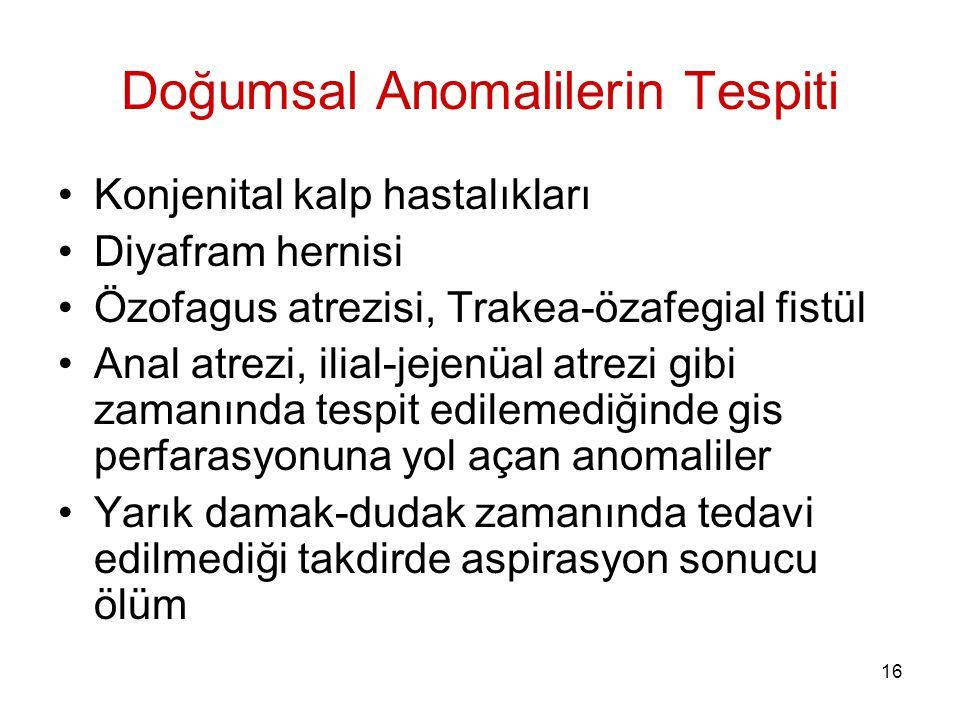 16 Doğumsal Anomalilerin Tespiti Konjenital kalp hastalıkları Diyafram hernisi Özofagus atrezisi, Trakea-özafegial fistül Anal atrezi, ilial-jejenüal