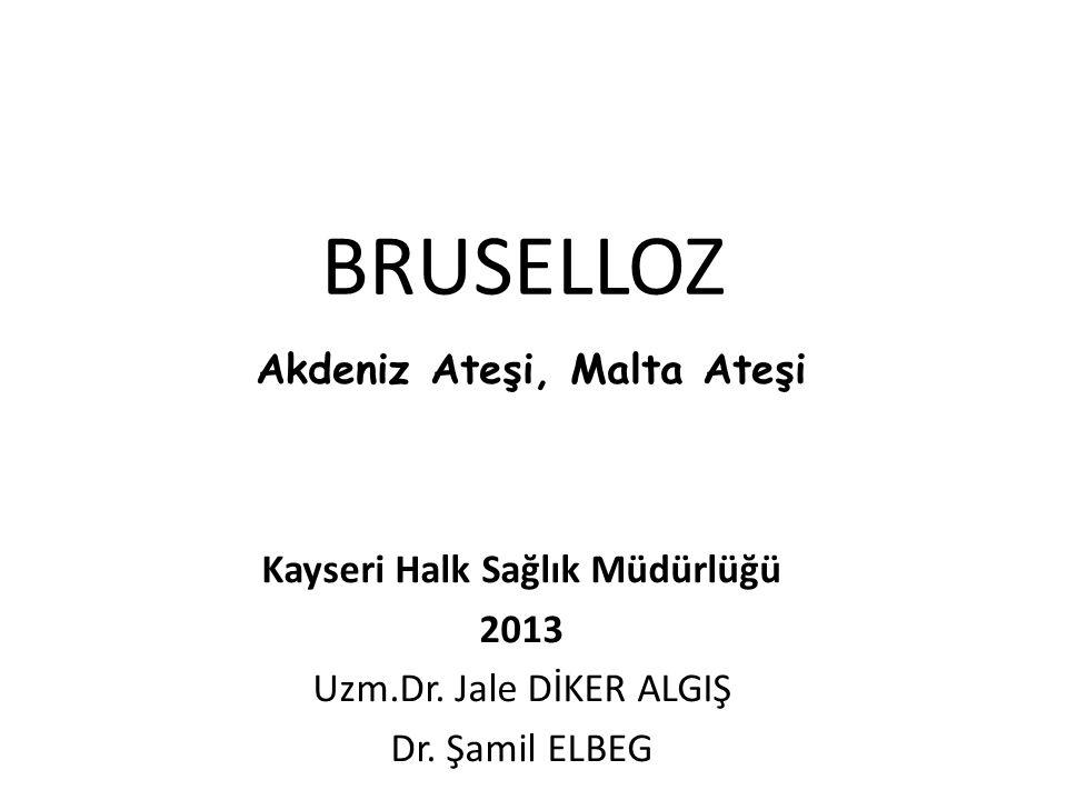 BRUSELLOZ Kayseri Halk Sağlık Müdürlüğü 2013 Uzm.Dr. Jale DİKER ALGIŞ Dr. Şamil ELBEG Akdeniz Ateşi, Malta Ateşi