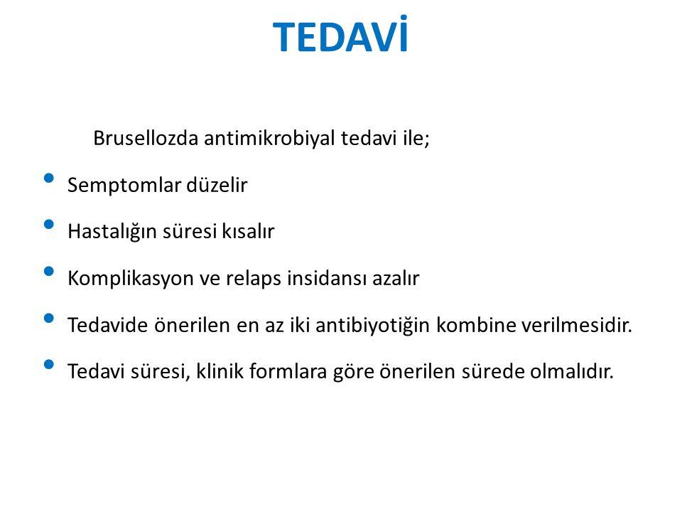 TEDAVİ Brusellozda antimikrobiyal tedavi ile; Semptomlar düzelir Hastalığın süresi kısalır Komplikasyon ve relaps insidansı azalır Tedavide önerilen e