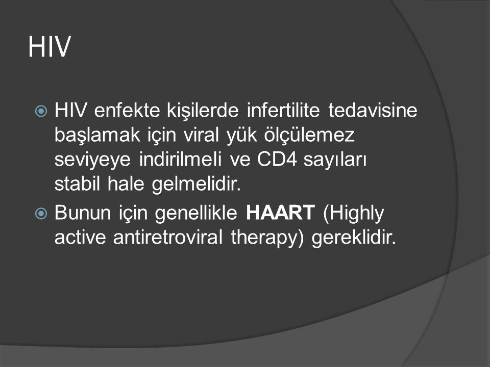 HIV  HIV enfekte kişilerde infertilite tedavisine başlamak için viral yük ölçülemez seviyeye indirilmeli ve CD4 sayıları stabil hale gelmelidir.  Bu