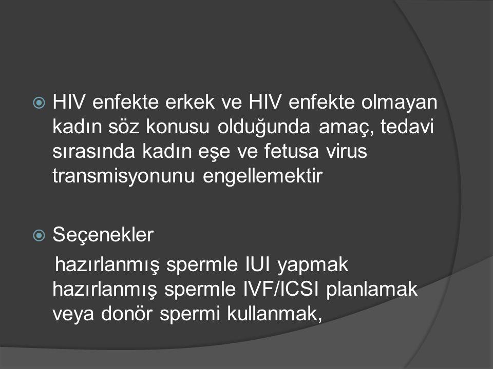  HIV enfekte erkek ve HIV enfekte olmayan kadın söz konusu olduğunda amaç, tedavi sırasında kadın eşe ve fetusa virus transmisyonunu engellemektir 