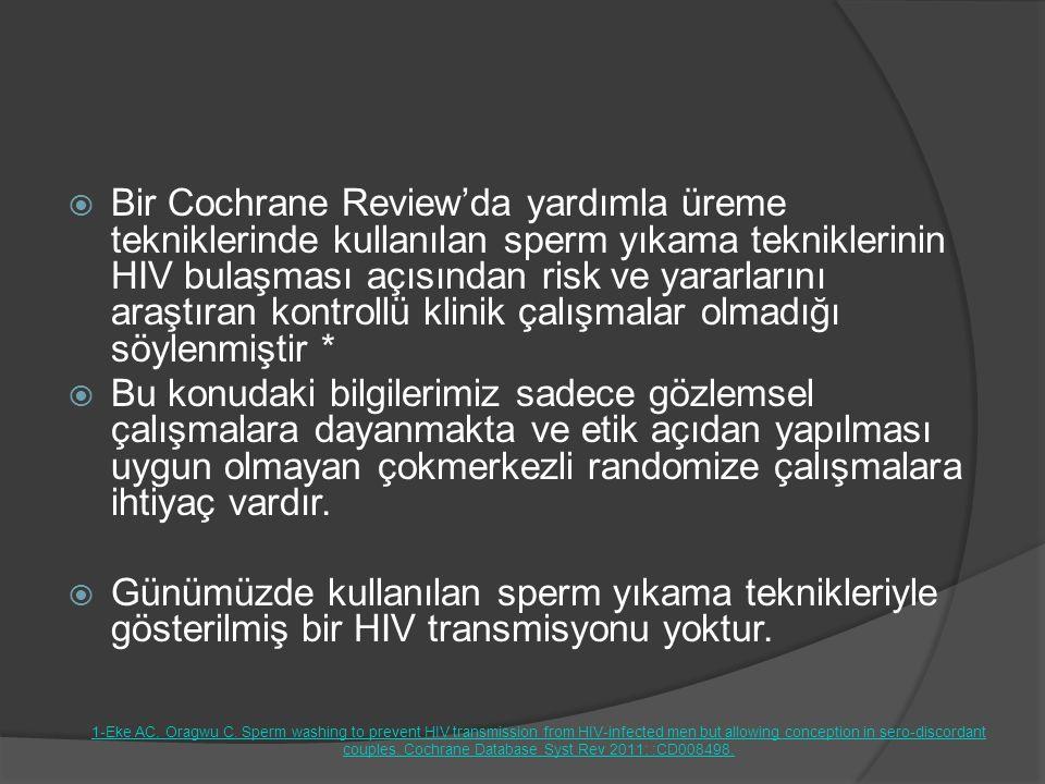  Bir Cochrane Review'da yardımla üreme tekniklerinde kullanılan sperm yıkama tekniklerinin HIV bulaşması açısından risk ve yararlarını araştıran kont
