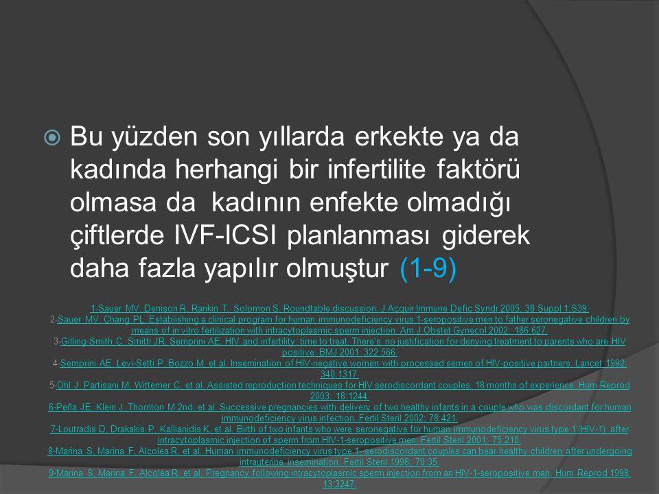  Bu yüzden son yıllarda erkekte ya da kadında herhangi bir infertilite faktörü olmasa da kadının enfekte olmadığı çiftlerde IVF-ICSI planlanması gide
