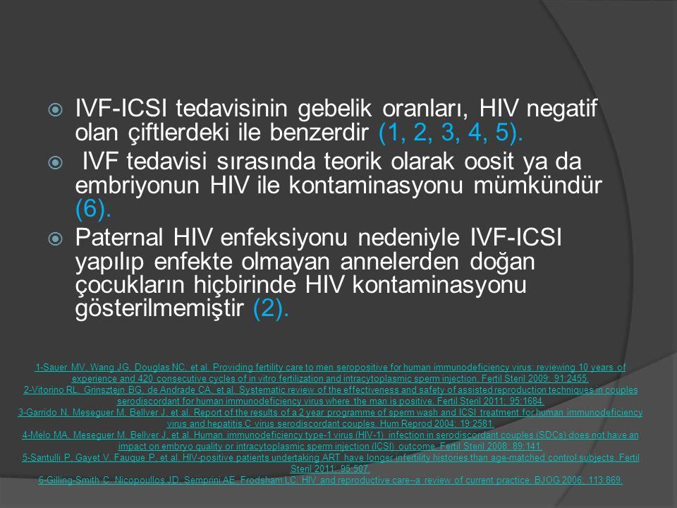  IVF-ICSI tedavisinin gebelik oranları, HIV negatif olan çiftlerdeki ile benzerdir (1, 2, 3, 4, 5).  IVF tedavisi sırasında teorik olarak oosit ya d