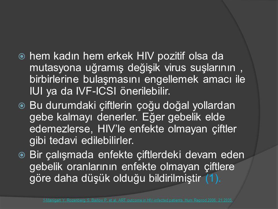  hem kadın hem erkek HIV pozitif olsa da mutasyona uğramış değişik virus suşlarının, birbirlerine bulaşmasını engellemek amacı ile IUI ya da IVF-ICSI