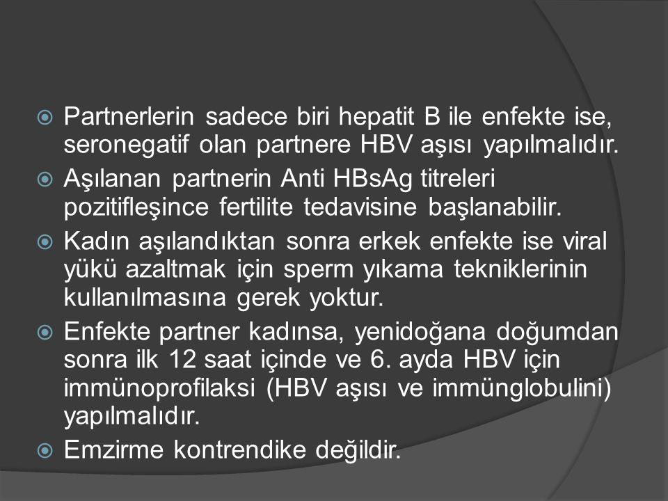 Partnerlerin sadece biri hepatit B ile enfekte ise, seronegatif olan partnere HBV aşısı yapılmalıdır.  Aşılanan partnerin Anti HBsAg titreleri pozi