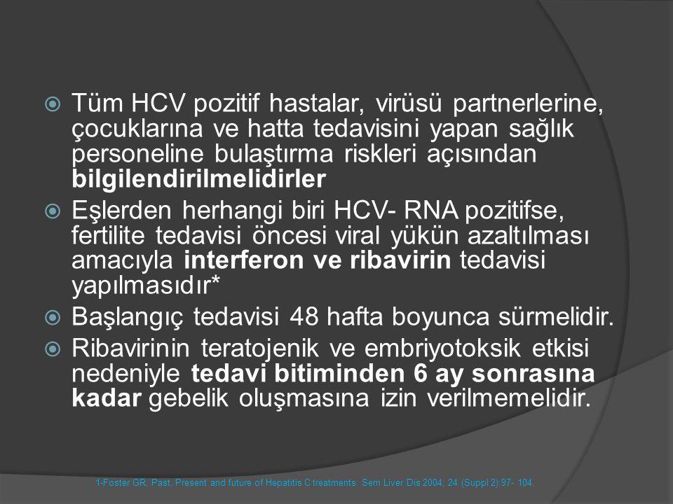  Tüm HCV pozitif hastalar, virüsü partnerlerine, çocuklarına ve hatta tedavisini yapan sağlık personeline bulaştırma riskleri açısından bilgilendiril
