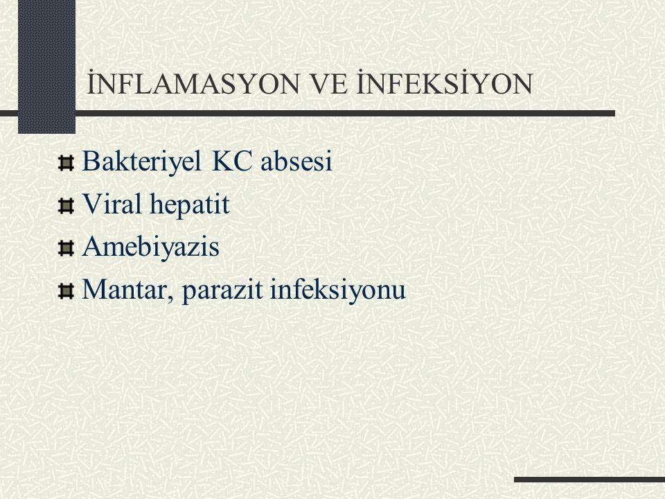 İNFLAMASYON VE İNFEKSİYON Bakteriyel KC absesi Viral hepatit Amebiyazis Mantar, parazit infeksiyonu