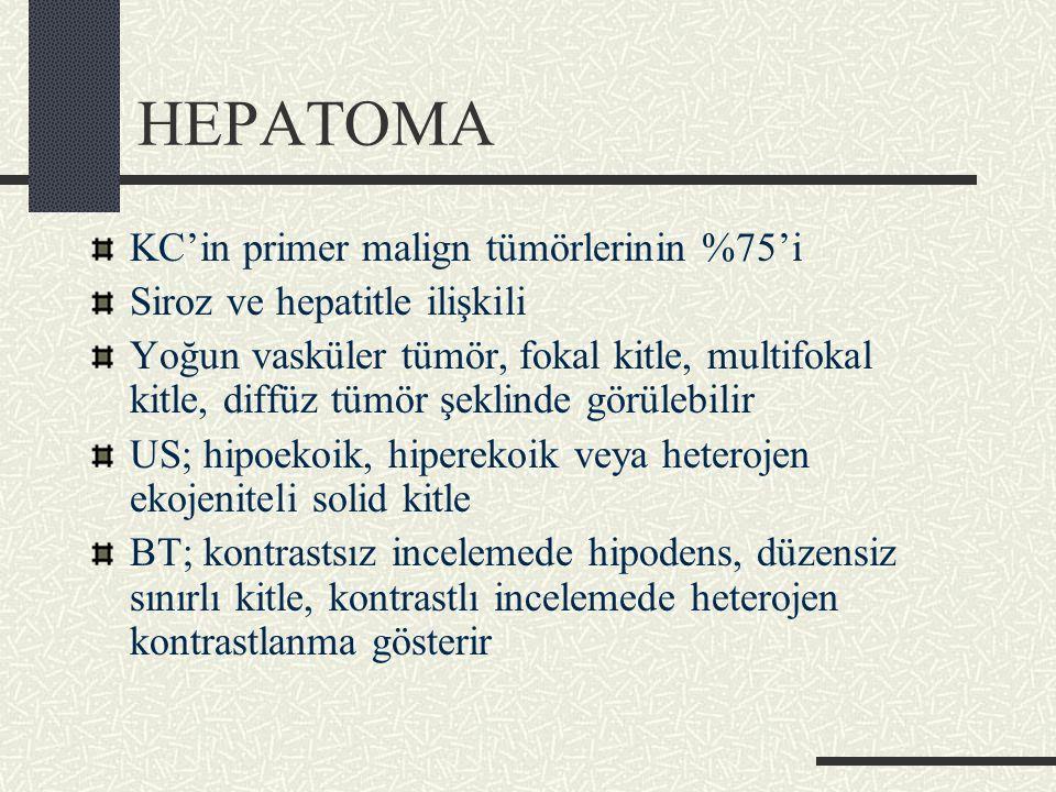 HEPATOMA KC'in primer malign tümörlerinin %75'i Siroz ve hepatitle ilişkili Yoğun vasküler tümör, fokal kitle, multifokal kitle, diffüz tümör şeklinde görülebilir US; hipoekoik, hiperekoik veya heterojen ekojeniteli solid kitle BT; kontrastsız incelemede hipodens, düzensiz sınırlı kitle, kontrastlı incelemede heterojen kontrastlanma gösterir