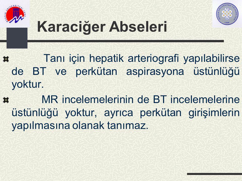 Karaciğer Abseleri Tanı için hepatik arteriografi yapılabilirse de BT ve perkütan aspirasyona üstünlüğü yoktur.