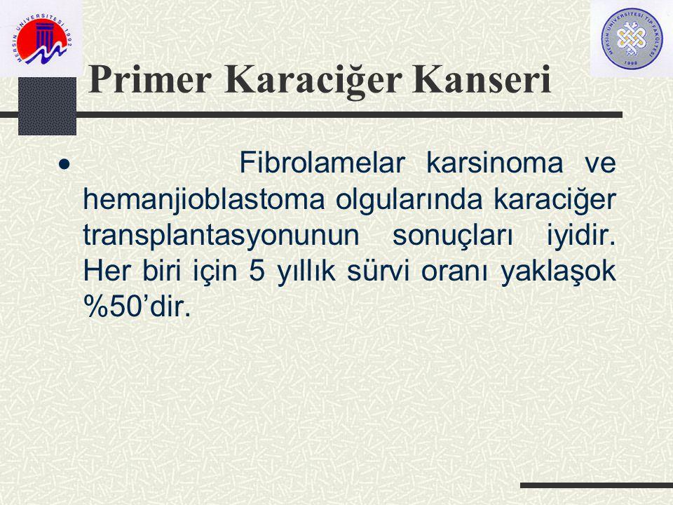 Primer Karaciğer Kanseri  Fibrolamelar karsinoma ve hemanjioblastoma olgularında karaciğer transplantasyonunun sonuçları iyidir.