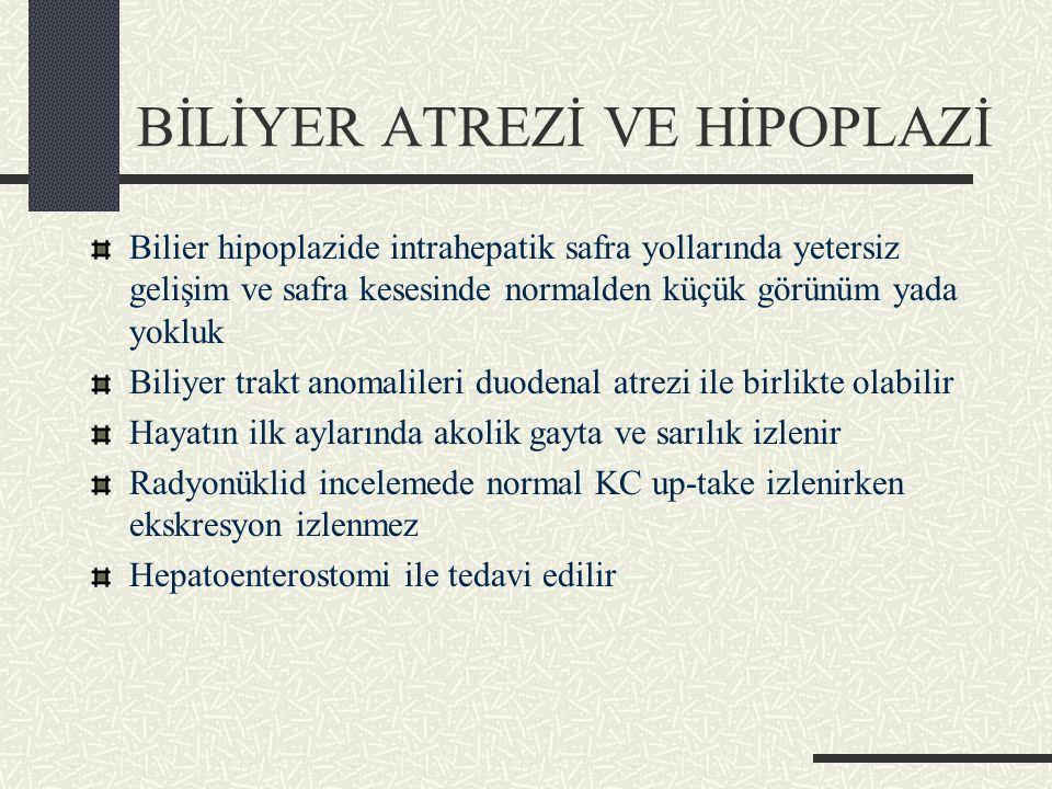 BİLİYER ATREZİ VE HİPOPLAZİ Bilier hipoplazide intrahepatik safra yollarında yetersiz gelişim ve safra kesesinde normalden küçük görünüm yada yokluk Biliyer trakt anomalileri duodenal atrezi ile birlikte olabilir Hayatın ilk aylarında akolik gayta ve sarılık izlenir Radyonüklid incelemede normal KC up-take izlenirken ekskresyon izlenmez Hepatoenterostomi ile tedavi edilir