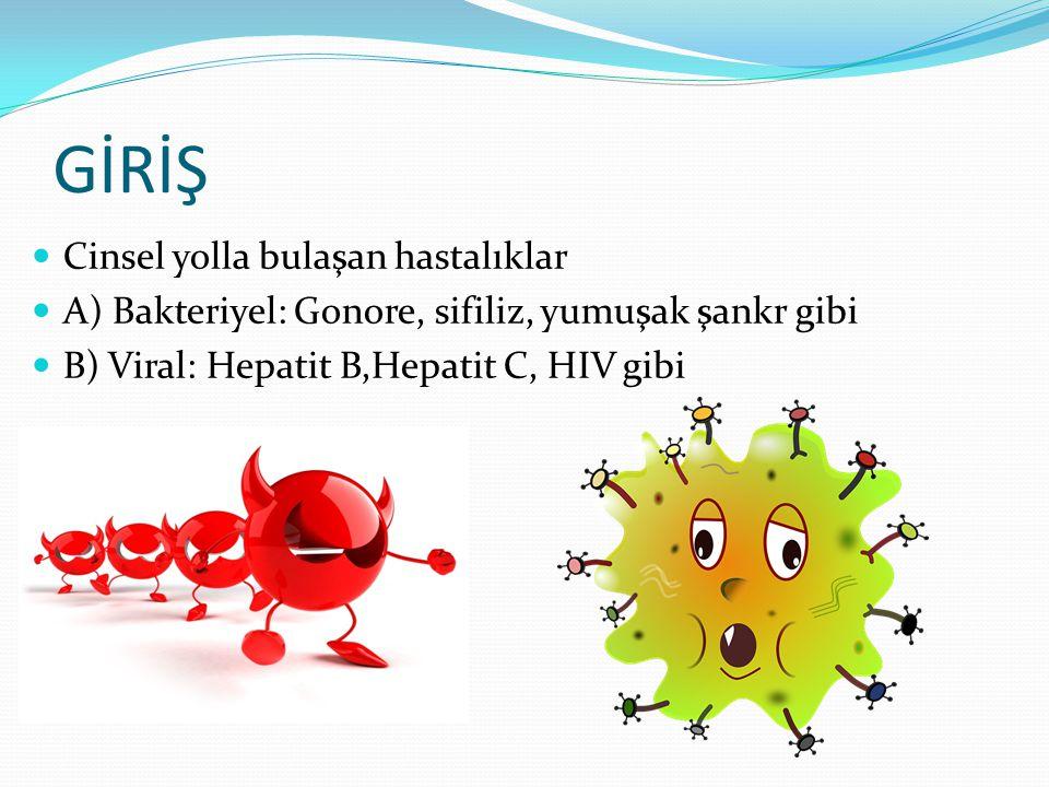 GİRİŞ Cinsel yolla bulaşan hastalıklar A) Bakteriyel: Gonore, sifiliz, yumuşak şankr gibi B) Viral: Hepatit B,Hepatit C, HIV gibi