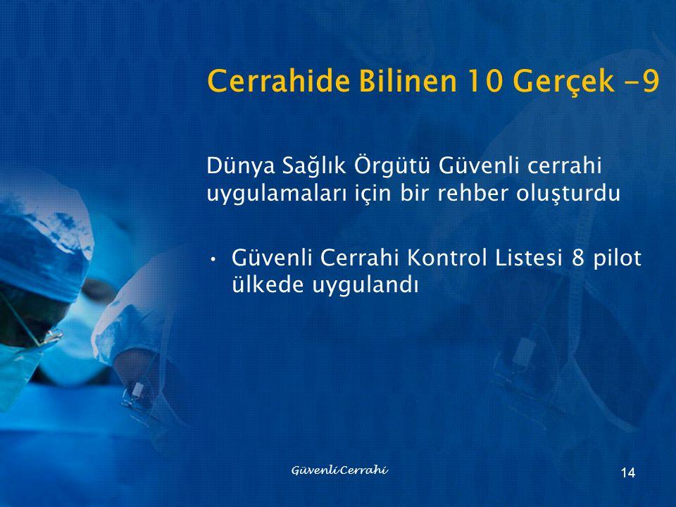 Cerrahide Bilinen 10 Gerçek -9 Dünya Sağlık Örgütü Güvenli cerrahi uygulamaları için bir rehber oluşturdu Güvenli Cerrahi Kontrol Listesi 8 pilot ülke