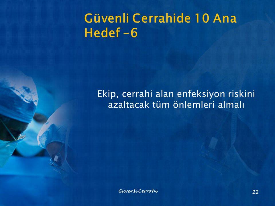 Güvenli Cerrahide 10 Ana Hedef -6 Ekip, cerrahi alan enfeksiyon riskini azaltacak tüm önlemleri almalı Güvenli Cerrahi 22
