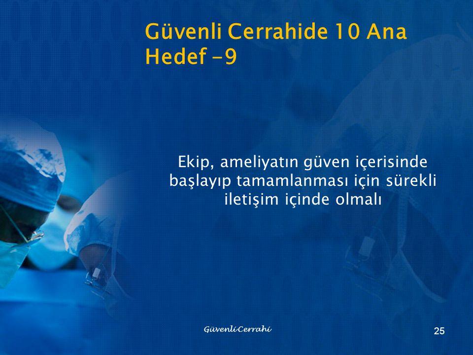 Güvenli Cerrahide 10 Ana Hedef -9 Ekip, ameliyatın güven içerisinde başlayıp tamamlanması için sürekli iletişim içinde olmalı Güvenli Cerrahi 25