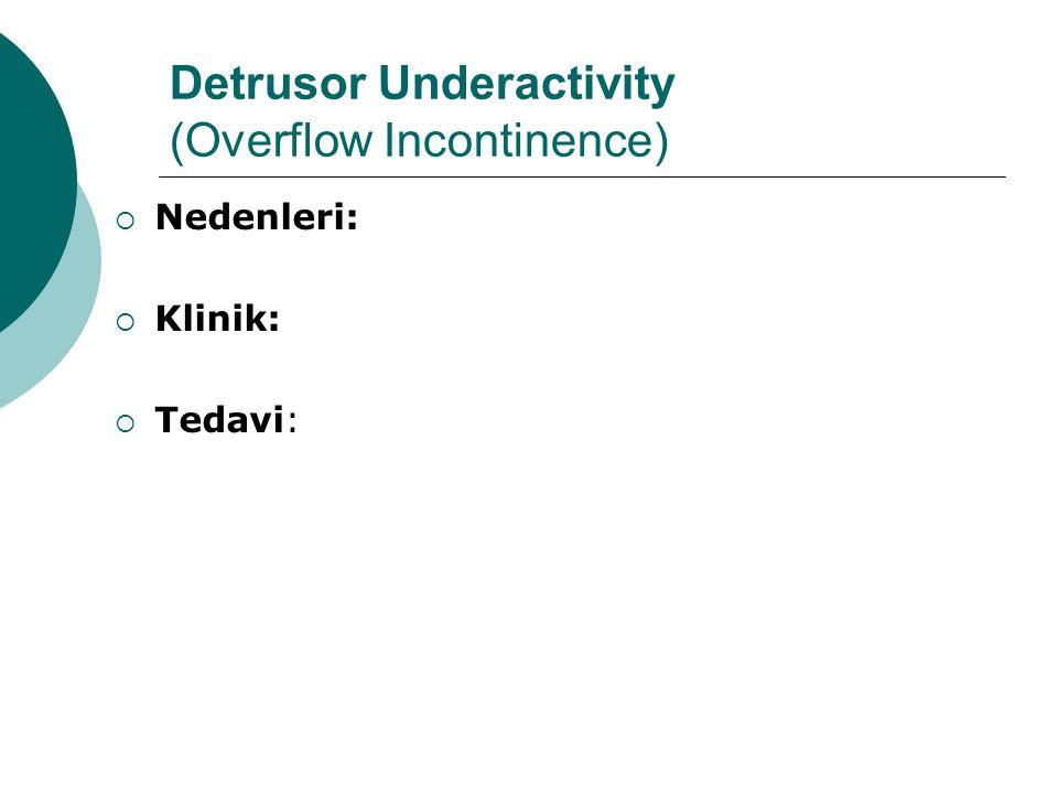 Detrusor Underactivity (Overflow Incontinence)  Nedenleri:  Klinik:  Tedavi: