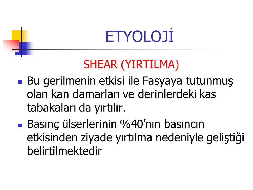 ETYOLOJİ SHEAR (YIRTILMA) Bu gerilmenin etkisi ile Fasyaya tutunmuş olan kan damarları ve derinlerdeki kas tabakaları da yırtılır. Basınç ülserlerinin
