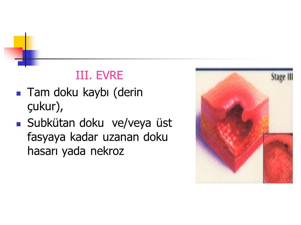 III. EVRE Tam doku kaybı (derin çukur), Subkütan doku ve/veya üst fasyaya kadar uzanan doku hasarı yada nekroz