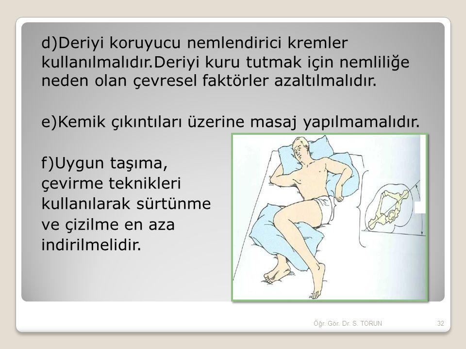 d)Deriyi koruyucu nemlendirici kremler kullanılmalıdır.Deriyi kuru tutmak için nemliliğe neden olan çevresel faktörler azaltılmalıdır. e)Kemik çıkıntı