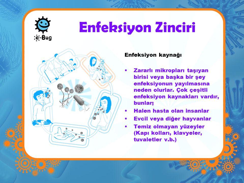 Enfeksiyon kaynağı Zararlı mikropları taşıyan birisi veya başka bir şey enfeksiyonun yayılmasına neden olurlar.