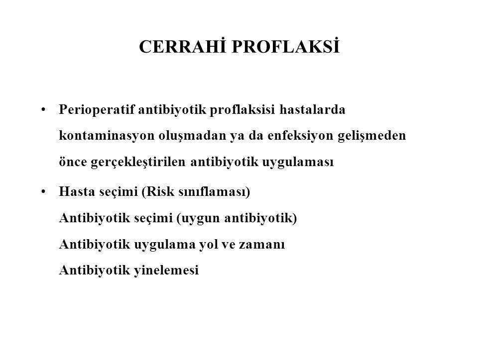 CERRAHİ PROFLAKSİ Perioperatif antibiyotik proflaksisi hastalarda kontaminasyon oluşmadan ya da enfeksiyon gelişmeden önce gerçekleştirilen antibiyoti