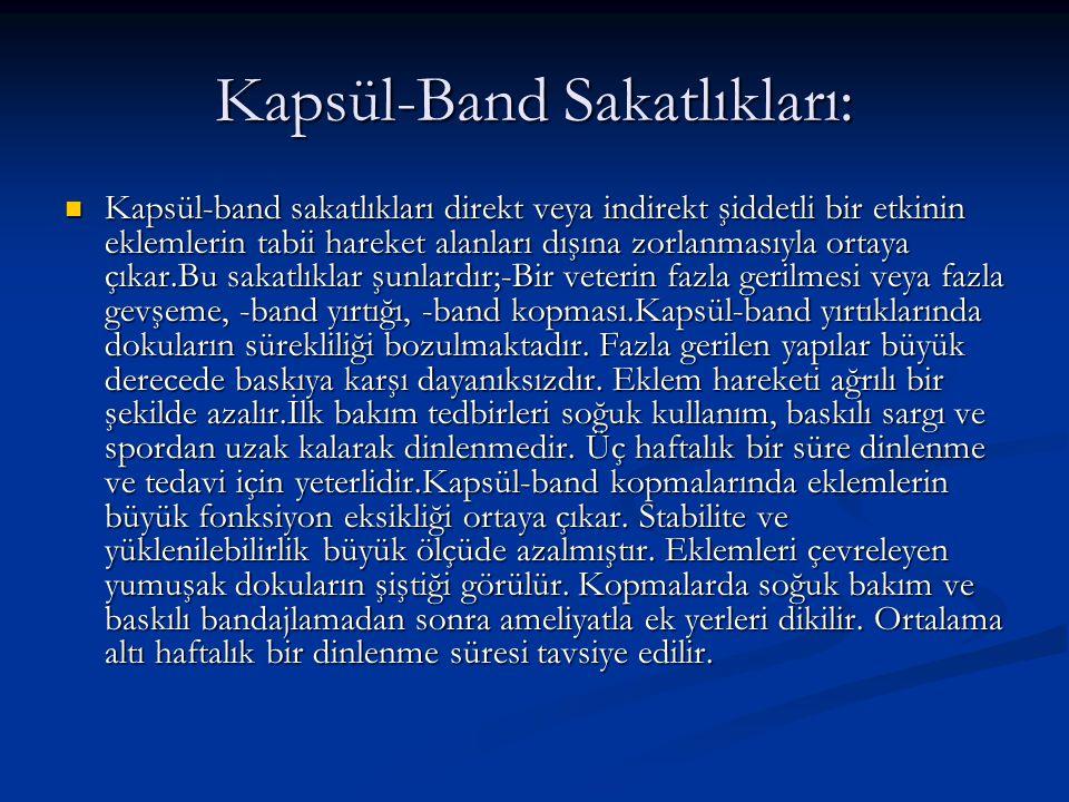 Kapsül-Band Sakatlıkları: Kapsül-band sakatlıkları direkt veya indirekt şiddetli bir etkinin eklemlerin tabii hareket alanları dışına zorlanmasıyla or