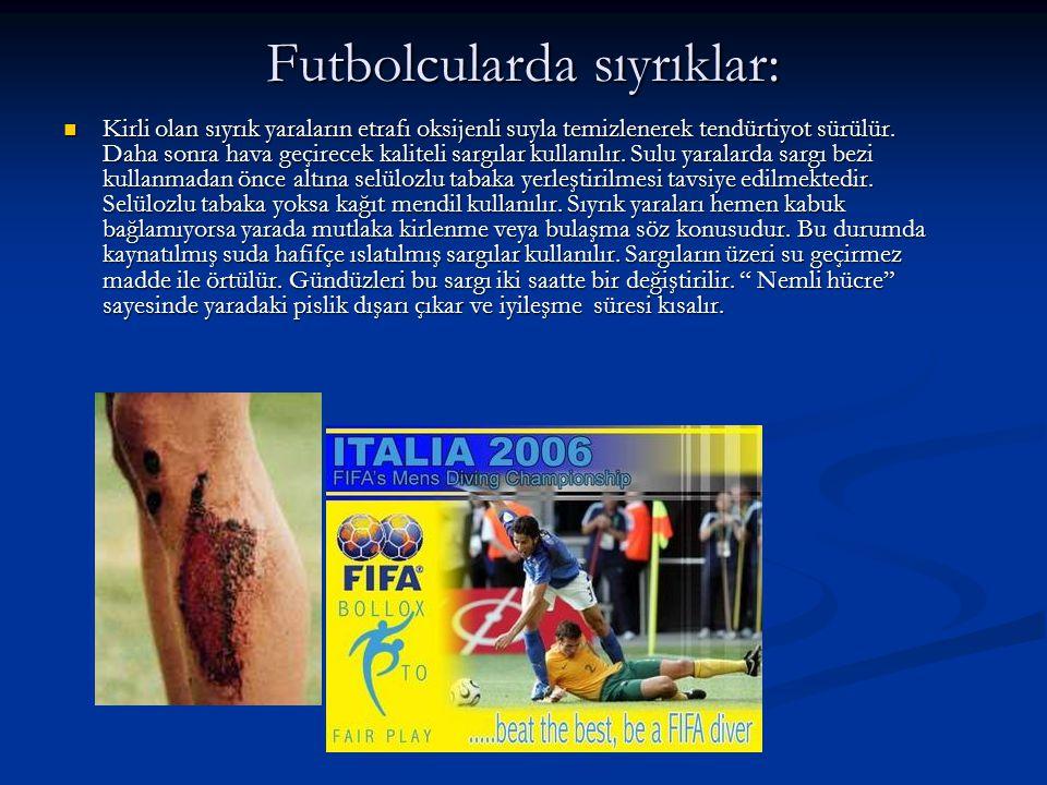 Futbolcularda sıyrıklar: Kirli olan sıyrık yaraların etrafı oksijenli suyla temizlenerek tendürtiyot sürülür. Daha sonra hava geçirecek kaliteli sargı