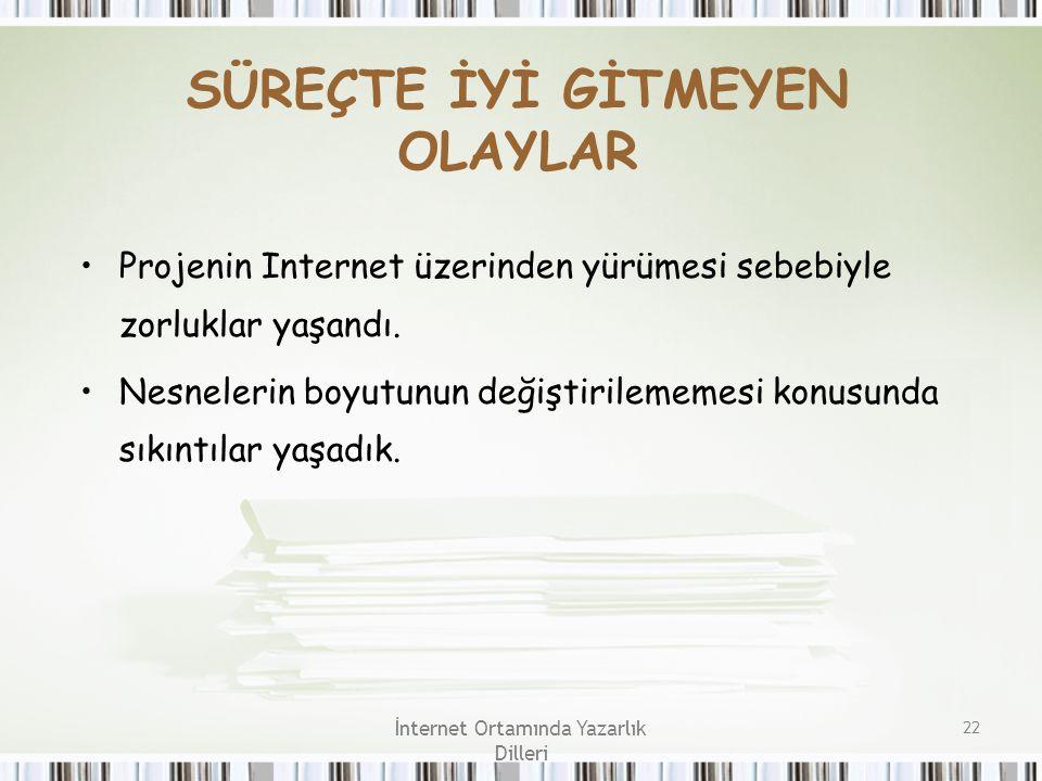 İnternet Ortamında Yazarlık Dilleri 22 SÜREÇTE İYİ GİTMEYEN OLAYLAR Projenin Internet üzerinden yürümesi sebebiyle zorluklar yaşandı. Nesnelerin boyut