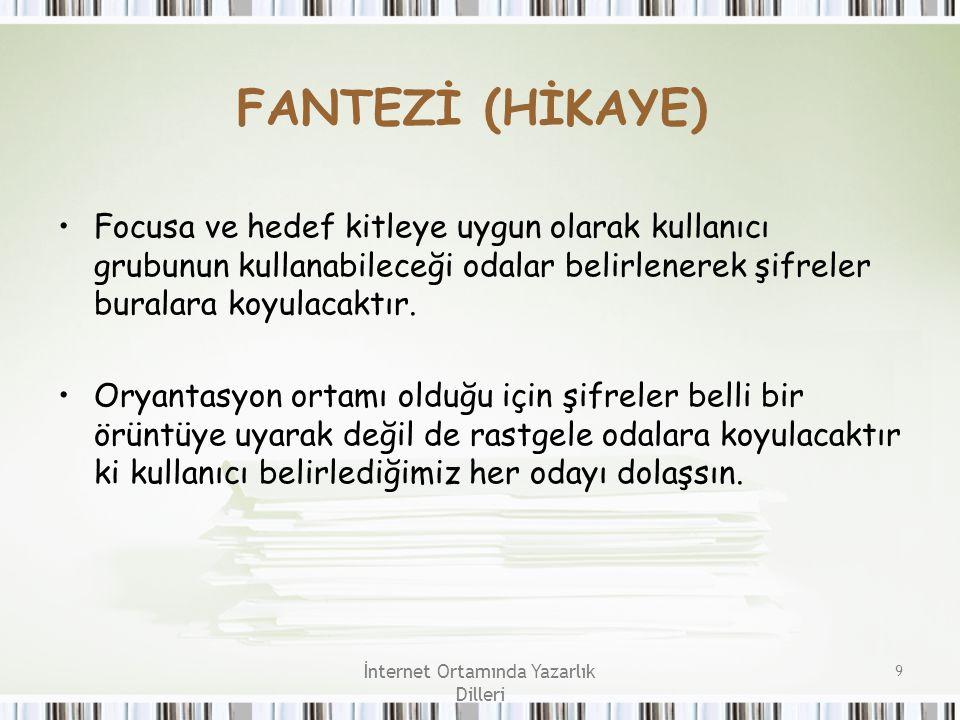 İnternet Ortamında Yazarlık Dilleri 9 FANTEZİ (HİKAYE) Focusa ve hedef kitleye uygun olarak kullanıcı grubunun kullanabileceği odalar belirlenerek şif
