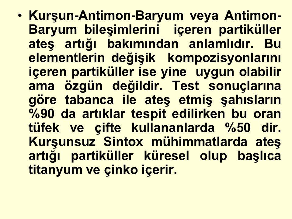 Kurşun-Antimon-Baryum veya Antimon- Baryum bileşimlerini içeren partiküller ateş artığı bakımından anlamlıdır. Bu elementlerin değişik kompozisyonları