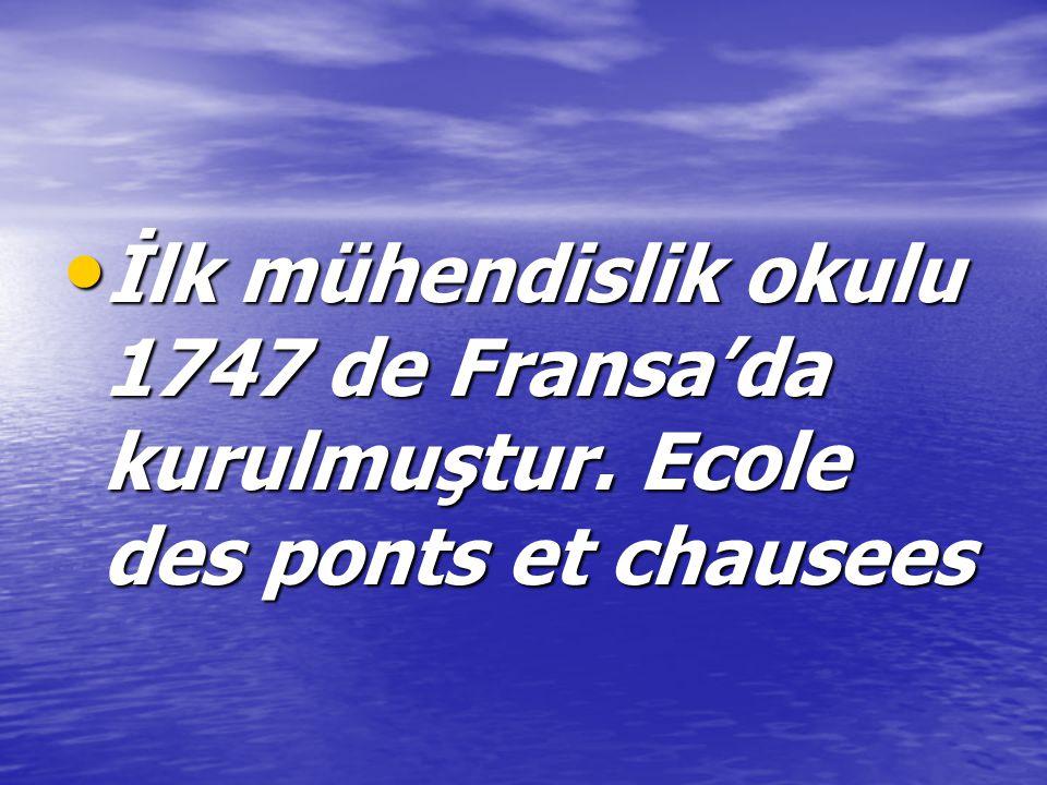 İlk mühendislik okulu 1747 de Fransa'da kurulmuştur.