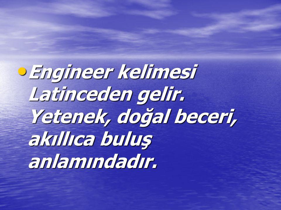 Engineer kelimesi Latinceden gelir. Yetenek, doğal beceri, akıllıca buluş anlamındadır.